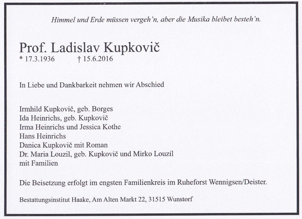 Prof. Ladislav Kupkovič starb